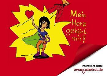 Aufkleber/Postkarte zur Aktion 'Mein Herz gehört mir'. © TERRE DES FEMMES