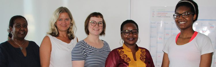 from left to right: Umyma El-Jelede, Hilde Wolf (FEM Süd), TDF policy specialist Charlotte Weil, Mai Ali, Lovina Okonkwo (Student Intern TDF). Photo: © TERRE DES FEMMES