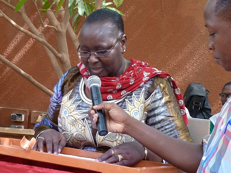 Rakieta Poyga, founder of the Association Bangr Nooma, at the inauguration of the centre for the protection of girls and women against violence in Ouagadougou (June, 2015). Photo: © TERRE DES FEMMES